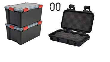 Iris Ohyama 137063/AT-L Set de 2/cajas de almacenamiento herm/ético pl/ástico negro 59/x 39/x 29/cm